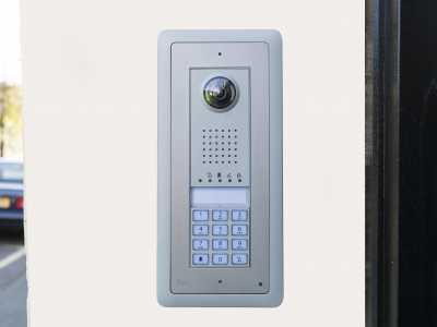 Intercom system fitted to wall
