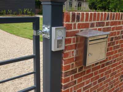 keypad entry system and intercom on metal gate