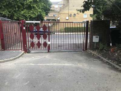 commercial swing gate with separate pedestrian gate