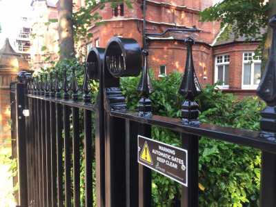 close of wrought iron automated gates