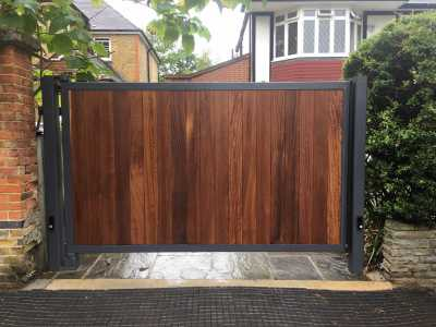 modern automated timber and metal gate