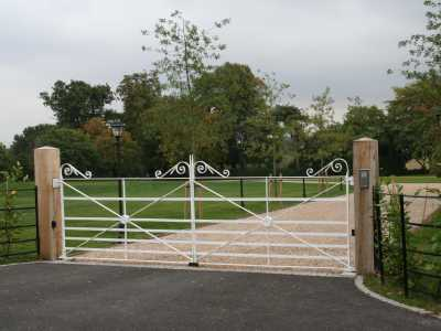 white, metal decorative gate