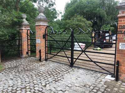 wrought iron automated driveway gates
